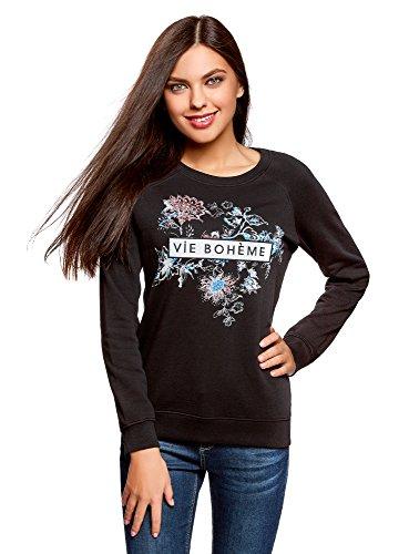 oodji Ultra Damen Sweatshirt mit Stickerei und Floralem Druck, Schwarz, DE 38 / EU 40 / M