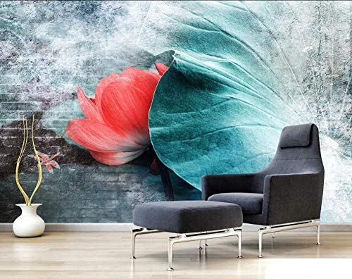 Foto Wallpaper Wallpaper 3D Lotus Leaf Living Room Sofá Fondo Pintura de la pared Decorativa-400280cm