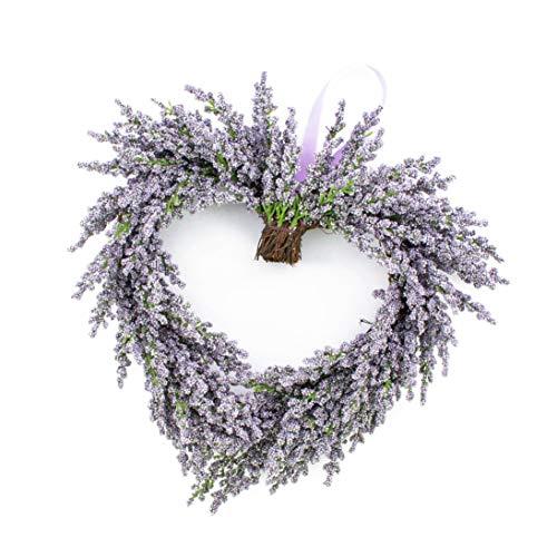 artplants.de Deko Lavendelherz, violett, Ø 30cm - Künstlicher Kranz - Türkranz
