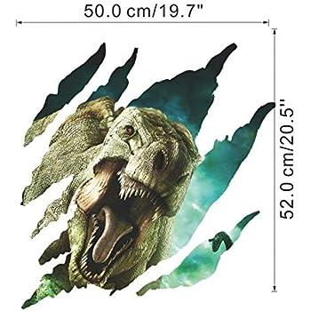 zuolanyo Ulan st/ér/éoscopiques 3D Motif dinosaure Sticker mural enfants Chambre Stickers Muraux Salon fen/être verre d/écoratif amovible Stickers muraux Espace D/écor Wall Sticker