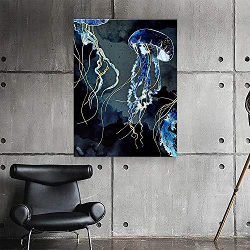 neivy Blue Jellyfish Animal 5D Diamant-Mal-Kits für Erwachsene Vollbohrmaschine, Malen mit Diamanten Kunst Strass Stickerei Kreuzstich Basteldekor (Quadrat 30x40cm)