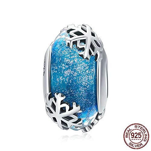 KHDZB 925 Sterling Silber Winter Schneeflocke Blau Murano Glasperlen Fit Charm Armbänder & Armreifen DIY Schmuck