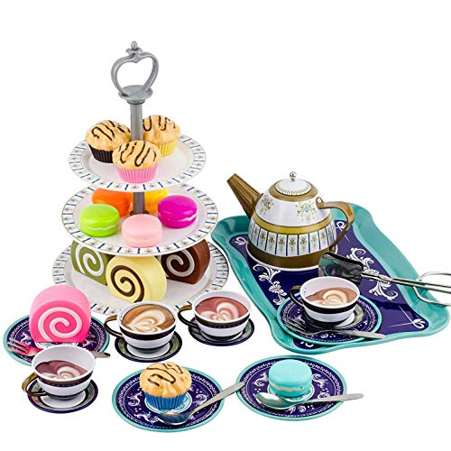 Deluxe Afternoon Tin Tea Set with Cake Stand and Dessert Play Food - Metalware Playset for Little Girls (39 Pieces)