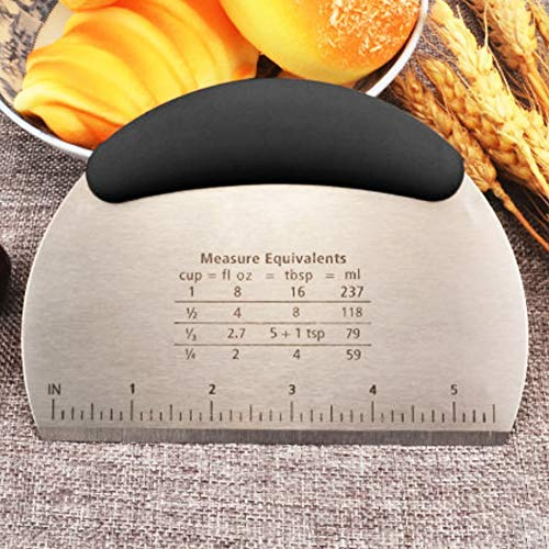 1 pcs Dough Pastry Scraper Chopper/Stainless Steel Dough Scraper Cutter with Ergonomic Rubber Non-Slip Grip/Dough Scraper Cutter/Pro Pastry Pizza Cutter Chopper (Black)