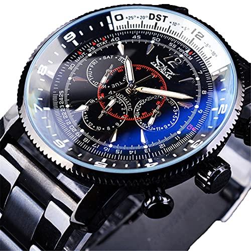Excellent Relojes Reloj automático mecánico Impermeable para Hombre, Bisel con Estilo, Pulsera de Acero Inoxidable, Relojes para Hombres,Negro