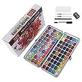 Kit de peinture aquarelle, 100 couleurs de pigment fixe, fluorescent, normal, macaron, 2 pinceaux aquarelle, 1 stylo à crochet, 1 crayon à papier et 1 taille-crayon.