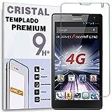 REY Protector de Pantalla para Huawei Ascend G740 / Orange YUMO Cristal Vidrio Templado Premium