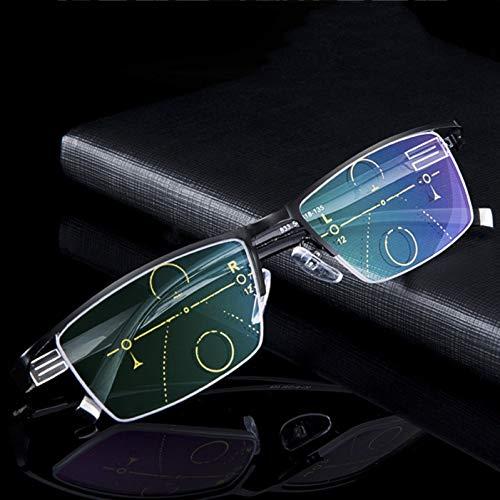WangLi88 Kleurrijke Staal Progressieve Multifocale Lenzen Multi Focus Lezen Bril Mannen Mode Bril Varifocale Vierkante Diopter Brillen+Rx Verziend
