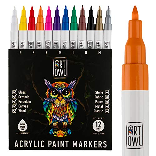 ART OWL Acrylic Paint Markers – Fine 0.7mm Tip – Water-based Paint Pens for Rock Painting, Stone, Ceramic, Glass, Wood, Porcelain, Fabric, Mugs, Canvas, DIY Craft – 12 Colors Paint Marker Set