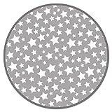 Panorama Alfombra Vinílica Infantil Estrellas Gris Redonda 100x100 cm - Alfombra Cocina Vinilo - Alfombra Salón Antideslizante, Antihongos e Ignífuga - Alfombras Grandes - Alfombras PVC