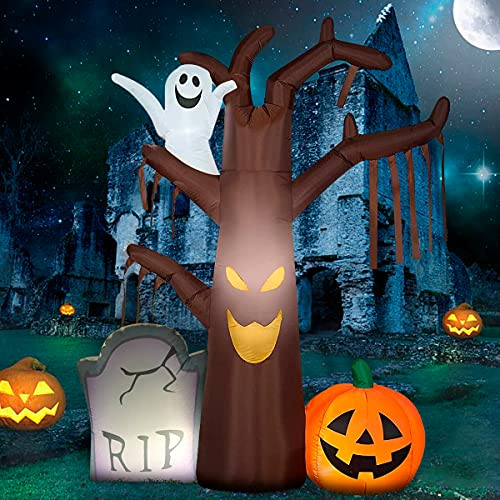 Halloween Inflatables Tree Ghost Pumpkin for Decorations – 7FT Outdoor Built-in LED Lights with Tethers, Stakes for Outdoor, Halloween Yard Decorations, Garden, Lawn