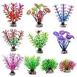 XYDZ Plantas Artificiales Acuario, 15 Piezas Plantas Verdes de Acuario de Plástico, Plantas Artificiales Plástico decoración de Acuario para Decoración de Acuarios y Peceras