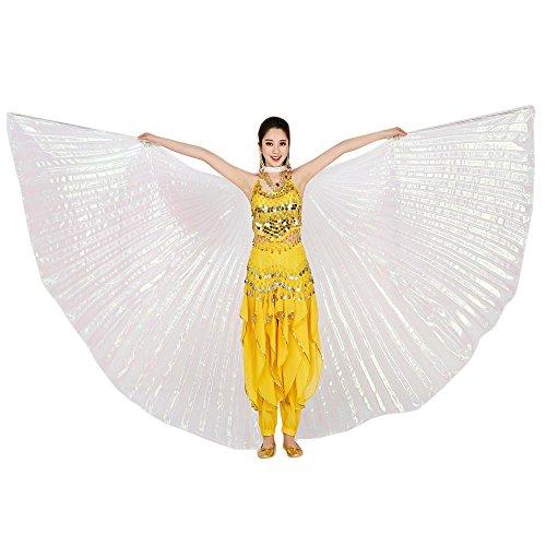 TONSEE Tanz Schal, Ägypten Bauch Flügel Tanzen Kostüm Polyester Bauchtanz Zubehör No Sticks (Weiß)