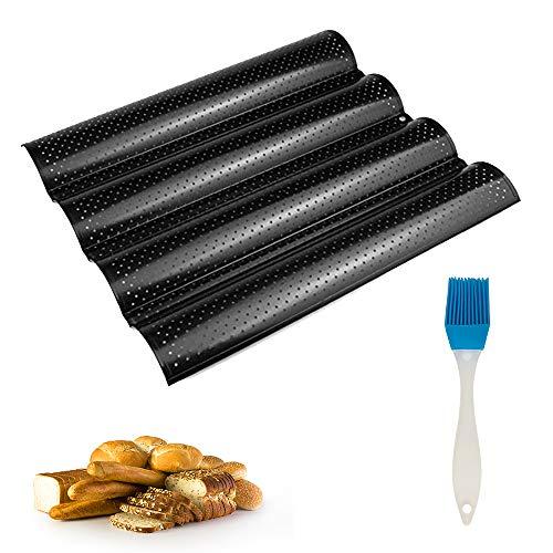 IWILCS Bandeja para pan francés con cuatro ranuras para pan francés con cepillo de silicona, molde para hornear baguettes para hornear pan francés, molde para hornear (negro)