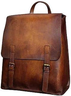 4e8d694befb24 Yoome Vintage Echtes Leder Rucksack Handmade Brush-Off Laptop Rucksack  Große Reisetasche Casual Daypack British Wind College Bookbag Umhängetasche  für ...