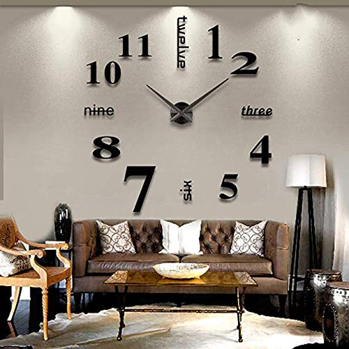 LZYMSZ Grande Orologio da Parete 3D Senza Cornice, Adesivi murali Moderni Fai-da-Te Muto Numeri Grandi Orologi Decalcomanie Home Office Hotel Decorazione (Nero)