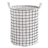 Yidieman para Guardar Ropa Sucia,Large Folding Toy Dirty Clothes Hamper with Handle Waterproof Inner-White_41cm*35cm,Cesto para Ropa Sucia para baño o lavadero