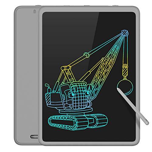 TECBOSS LCD Schreibtafel 11 Zoll Bunter Bildschirm, Löschbare Elektronische Digitale Zeichenblock Doodle Board, Geschenk für Kinder Erwachsene Home School Office (grau)