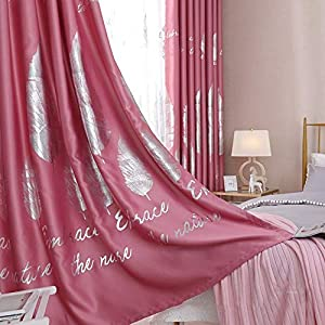 kengbi Thermal Insulated Room Curtains Drapes Silver Leaf Blackout Curtain for Bedroom Gold Shiny Kids Children Nursery New Home Decor Window Treatment Drapes (Color : C, Size : Pull Pleated Tape)