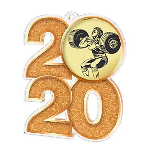 Trophy Monster 2020 - Medalla de Peso para Clubes y Fiestas (70 mm, 3 Unidades), marrón, 10x Medals