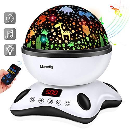Moredig Lámpara Proyector Estrellas, 360° Rotación Músic Lampara con Temporizador led Pantalla...