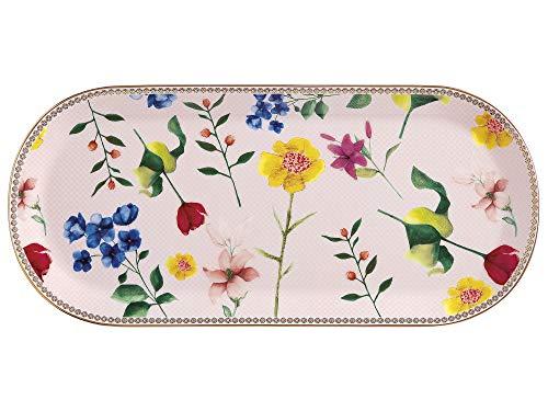 "Maxwell Williams - Piattino per torta ""Teas & C"", motivo: Contessa, HV0029, Porcellana, Rosa, 33.5 x 15.5 cm"