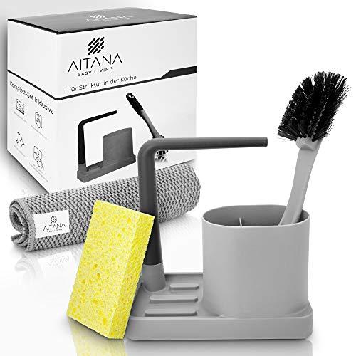 Aitana ® Spülorganizer - Küchenhelfer im Komplettset - inklusive Mikrofasertuch & Schwamm - mit praktischer Spülbürste (Grau)