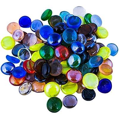 200Pcs Round Decorative Pebbles Stones Beads Nuggets Glass pebbles 1Kg Green