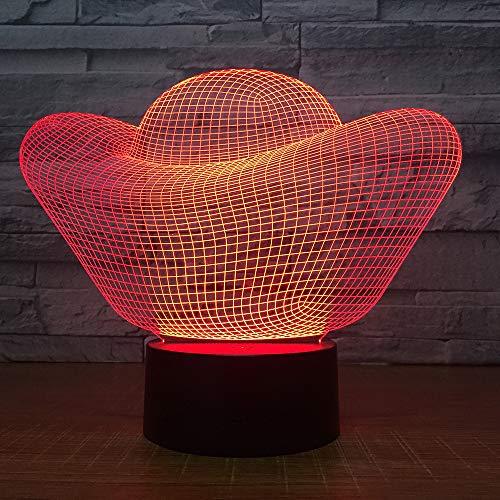 3D Nachtlicht 7 Farben Berührungssteuerung Zuhause Dekor Tischleuchte Optische Illusion Led Nachtlampe Für Kinder Weihnachten Geschenk Geburtstag Geschenk - Goldbarren