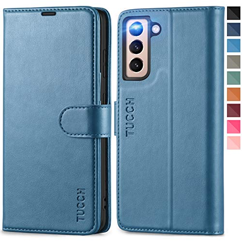 TUCCH Wallet Case for Galaxy S21 5G with [TPU Shockproof Interior Case] [RFID Blocking] Folio Stand Card Slot, Magnetic PU Leather Protect Folio Cover Compatible with Galaxy S21 6.2-inch, Lake Blue