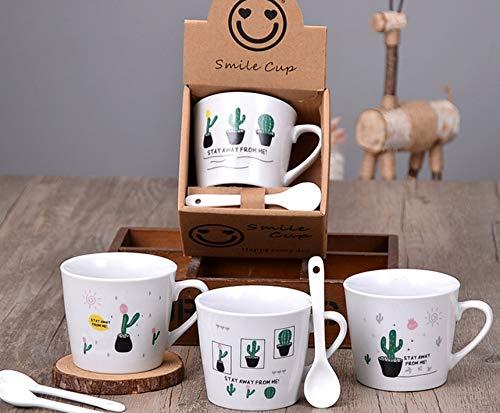 Coffee Cups Coffee Mugs Cappuccino Mug Espresso Mugs Animal Cartoon Ceramic Coffee Mug Espresso Mugs(set of 4) 6-7Ounces (Cactus)