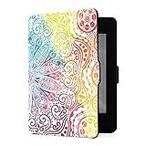 Funda para Kindle Paperwhite 1 2 3, diseño de Mandala de Flores, Estilo Oriental, Acuarela, Funda de Piel sintética con Despertador automático Inteligente para Amazon Kindle Paperwhite (para Las Vers