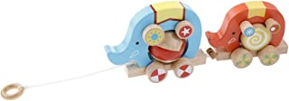 simhoa Wooden Pull Along Two Elephant Learning Walking Toy for Baby Toddlers Kids