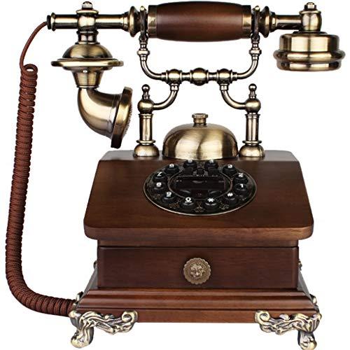 VERDELZ TeléFono Retro Europeo/TeléFono Antiguo, Cuerpo De Madera Y Metal, FuncióN De Dial Giratorio, Sala De Estar, TeléFono Fijo En El Hogar