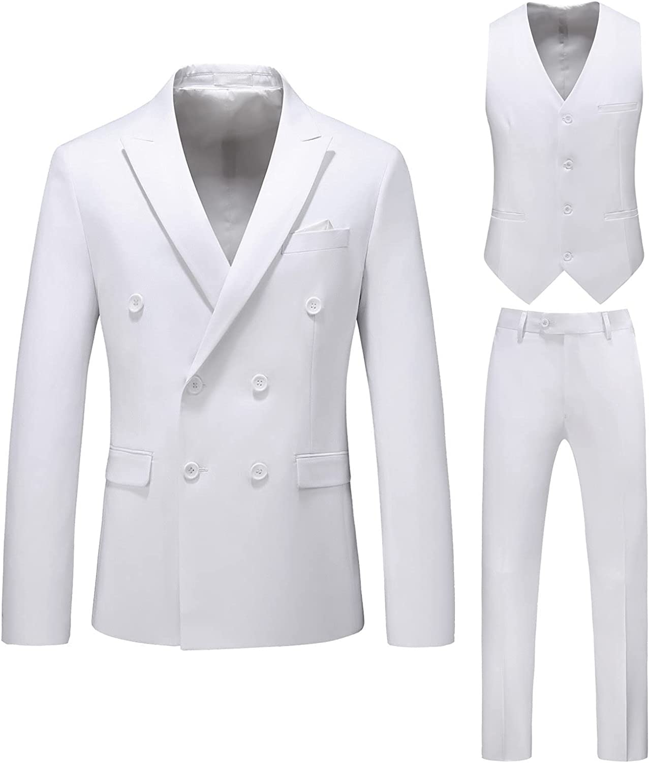 Mens Fit Double Breasted Special Campaign 3 Great interest Piece Dress Suit Wedding Party Suits