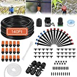 Drip Irrigation System, 140 Feet WateringSystem with 1/4' Blank Distribution TubingUniversal Adapter Adjustable Nozzle Automatic Irrigation Drip Kit for Garden,HousePlants,Outdoor&Indoor,No Leaking