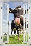 Wallario Poster mit Fenster-Illusion: Lustige Kuh auf der
