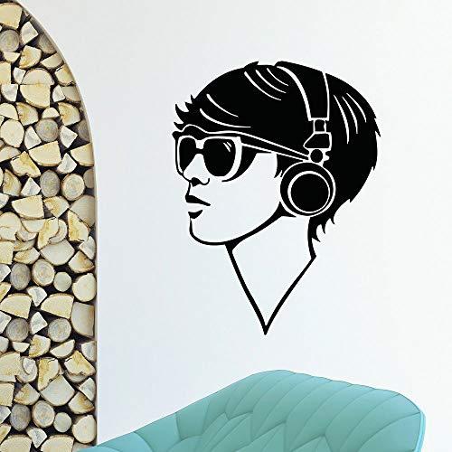 JXND Vinilo Decorativo Vinilo Chico música con Auriculares decoración 115x150cm