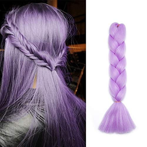 SEGO Capelli per Treccine Africane Extension Afro Trecce Lunghe 60cm Treccia Finta Braiding Hair Sintetici Ombre Crochet Fibre 100g - # Viola Lilla