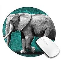 マウスパッド 円形 かわいい オフィス最適 象 青 水彩画 動物 上品ゲーミング エレコム 防水性 耐久性 滑り止め 多機能 おしゃれ ズレない 直径20cm