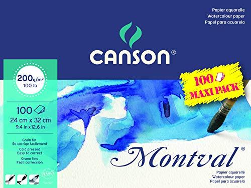 Canson 200807353 AQ Montval fijn aquarel, 200 g/m², 100 vellen per blok