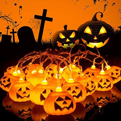 Herefun Halloween Luces de Cadena de Calabaza, 3M 20LEDs Calabaza Cadena de Luces Halloween, Halloween Guirnaldas Halloween Navidad Carnaval Interiores Fiesta