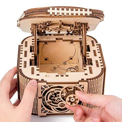 XIONGDA 3D Rompecabezas de Madera DIY mecánico joyero con