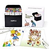 Pachock 60 Couleurs Art Croquis Stylos Marqueurs Permanents, Double Pointe Graphic Couleurs Marqueurs Twin Marker, excellent cadeau pour étudiants artiste enfants