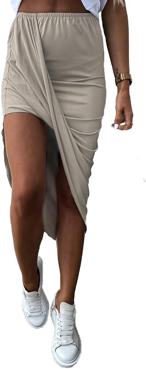 HZSONNE Women's Casual Slit Wrap Asymmetrical Elastic High Waist Maxi Draped Skirt Solid Cotton Blend