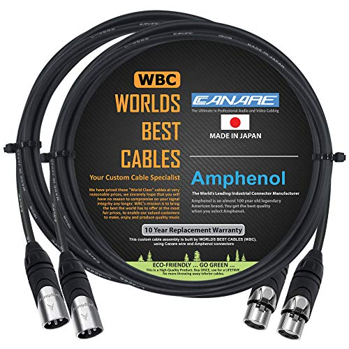 2 Units - 3 Foot - Canare L-4E6S, Star Quad Balanced Male to Female Microphone Cables with Amphenol AX3M & AX3F Silver XLR Connectors - Custom Made by WORLDS BEST CABLES