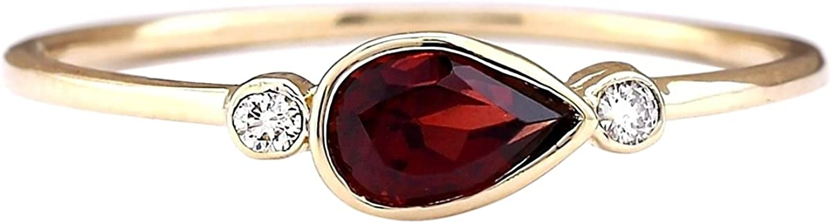 0.56 Carat Natural Red Rhodolite Garnet and Diamond (F-G Color, VS1-VS2 Clarity) 14K Yellow Gold 3 Stone Promise Ring for Women Exclusively Handcrafted in USA