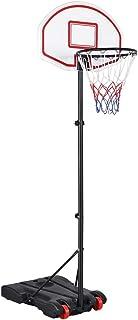 comprar comparacion Yaheetech Canasta de Baloncesto con Soporte Tablero de Baloncesto con Ruedas Altura Ajustable de 159 cm a 214 cm Portátil