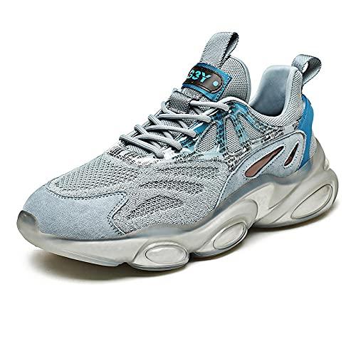 BAIDEFENG Zapatos de Malla Transpirable,Zapatillas de Gamuza de Moda, Zapatillas de Plataforma de Alta Elasticidad-Azul Claro_43