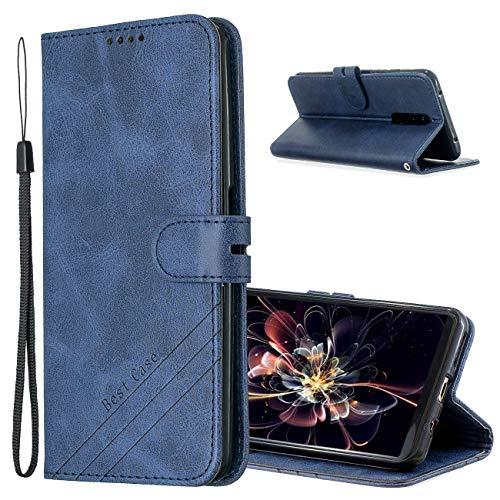 MRSTER Hülle für Xiaomi Redmi 8A, Vintage Dünne Handyhülle mit Standfunktion Kartenfächern Premium PU-Leder Tasche Flip Schutzhülle Kompatibel mit Xiaomi Redmi 8A. HX Retro Blue